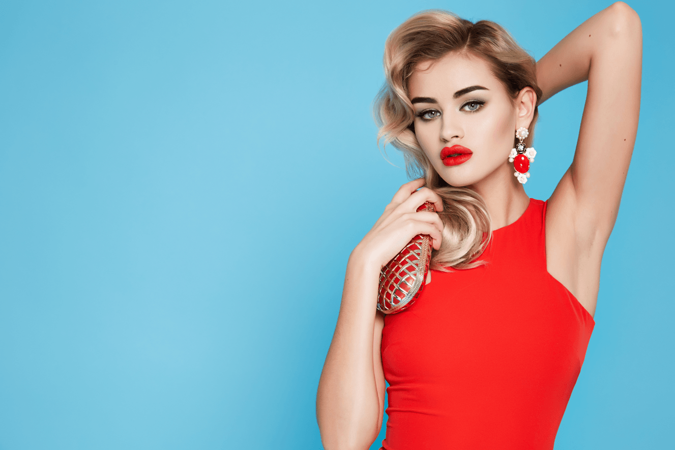 Beautiful women with red lips